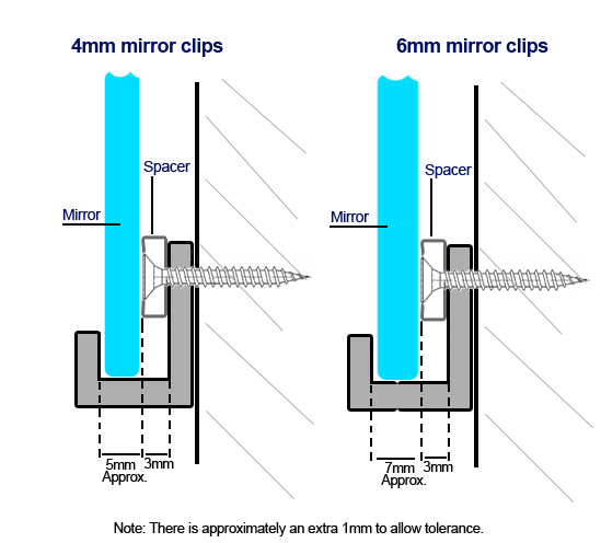 Stainless Steel Adjustable Mirror Clips, Threshold Frameless Mirror Set How To Hang