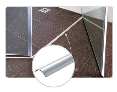 Shower door strip floor