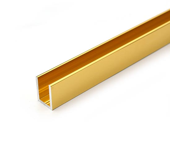 Shiny Gold Effect U Channel For 10mm Glass Shower Screens