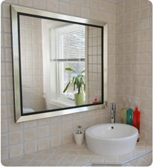 Mirrored glass in bathroom