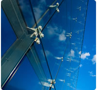 Toughened safety glass in glass office building